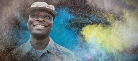 african american woman: black against portrait of military smiling