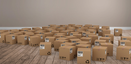 floorboards: Group of computer generated cardboard boxes against room with wooden floor Stock Photo