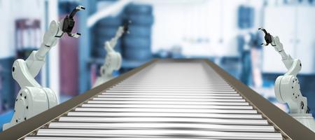 3D image of empty production line against empty garage