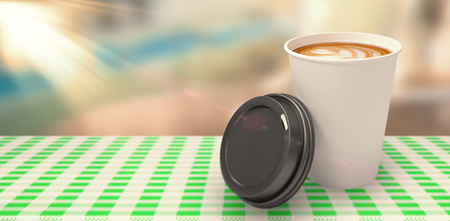Coffee cup in front of its cover  against bar stool and table with ash tray