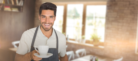 Waiter giving a cup of coffee against empty chairs and tables