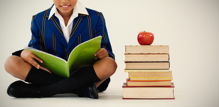 Portrait of schoolboy studying against white background Stock Photo