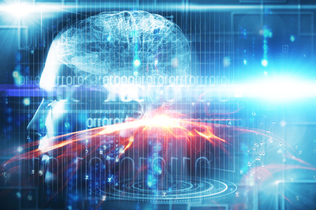 Digitally image of brain interface against glowing matrix