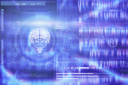 nerve message: DNA helix and brain interface against abstract blue text Stock Photo