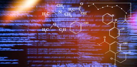 Digital image of chemical formulas against blue texts