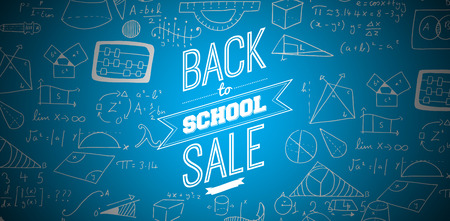 Back to school sale message against blue background with vignette