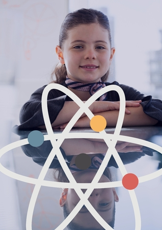 Digital composite of Science icon against office kid girl