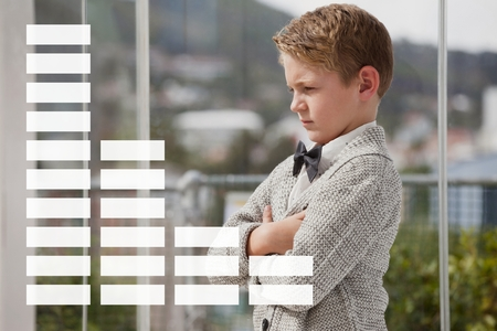 phoning: Digital composite of Infographics against worried office kid boy background Stock Photo