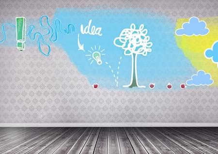 floorboards: Digital composite of idea doodles in room Stock Photo