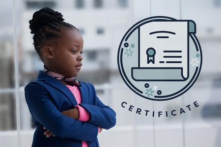 Digital composite of Education icons against office kid girl thinking background