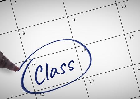 businesswear: Digital composite of Class Text written on calendar with marker Stock Photo