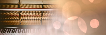 crouching: Digital composite of Piano with yellow lights