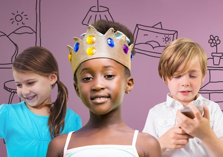 Digital composite of Girl wearing crown with friends in front of purple background with home graphics
