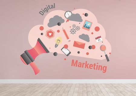 Digital composite of Digital marketing cloud graphics in pink room Stock Photo