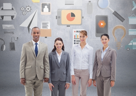 Digital composite of Group of business people standing in front of business and office graphics