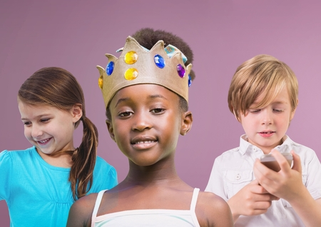 Digital composite of Girl wearing crown with friends in front of purple background Stock Photo