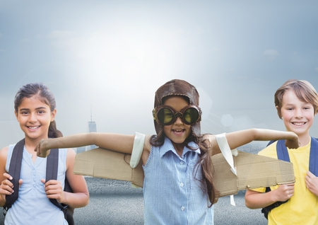 Digital composite of kids with bright background
