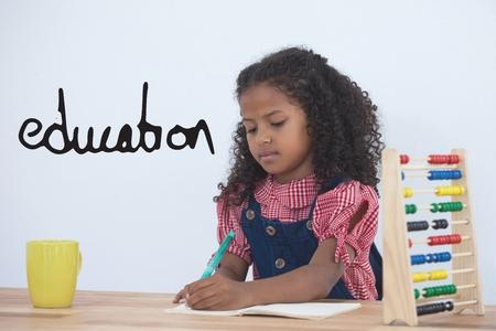 背景を書く女事務員子供に対して教育テキストのデジタル合成 写真素材