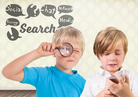 chat room: Digital composite of kids holding magnifying glass with blank room background and search and social media graphics Stock Photo