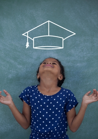 causal: Digital composite of Happy office kid girl looking up against green background with graduation cap icon