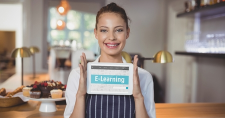 Digital composite of Woman holding a tablet with e-learning information in the screen