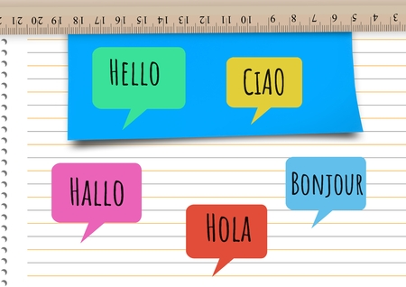 college ruled: Digital composite of Hello in different languages chat bubbles learning with Notebook