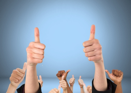 Digital composite of Hands with thumbs up likes in front of blue background