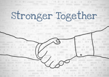 Digital composite of stronger together text with holding hands Stock Photo - 83189503