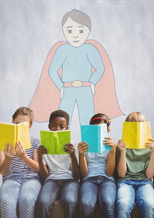 Digital composite of Group of children reading books in front of superhero drawing