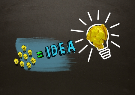 equals: Digital composite of Many little lightbulbs equals idea and big light bulb with crumpled paper with blackboard