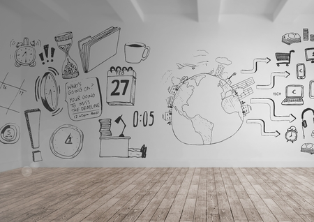 Digital composite of Various work graphics drawings in room