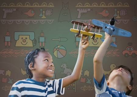 Digital composite of kids playing with toy planes together with blank background and toy graphics