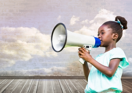 floorboards: Digital composite of Girl with megaphone in front of cloudy room