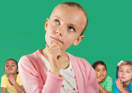 Digital composite of Girl thinking in front of friends and green wall
