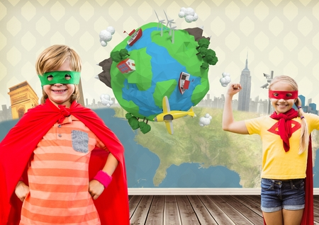 floorboards: Digital composite of Superhero kids in room with planet earth world Stock Photo