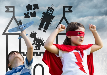 baby playing toy: Digital composite of Superhero kids playing with toy plane over city with toys graphics Stock Photo
