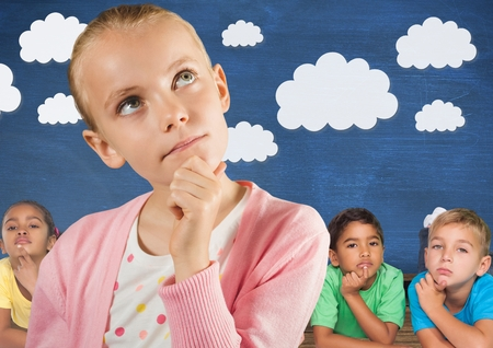 floorboards: Digital composite of Girl thinking in front of friends and blue wall with clouds