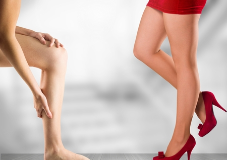 Digital composite of Womens legs in front of stairs