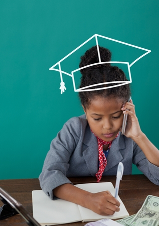 tactics: Digital composite of Office kid girl with graduation cap icon against green background
