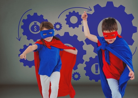 Digital composite of Superhero kids with blank grey background and blue settings cogs icons