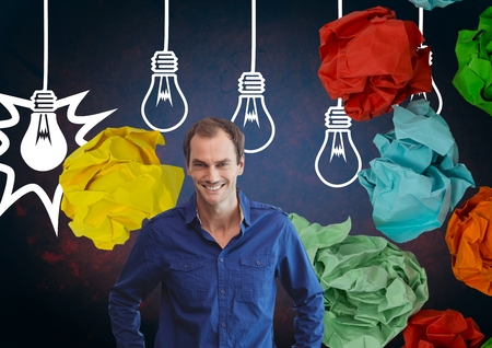 rejected: Digital composite of Man standing next to light bulbs with colorful crumpled paper balls
