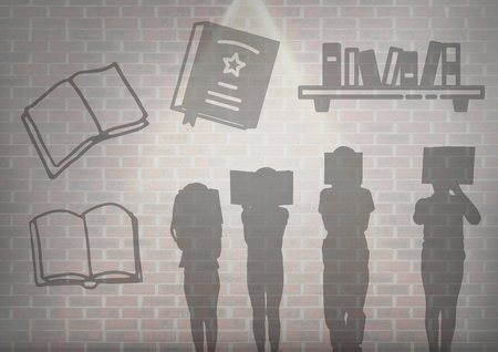 playtime: Digital composite of book reading silhouette graphics over wall background