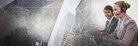 コンピューターを使用してビジネスの人々 のデジタル合成