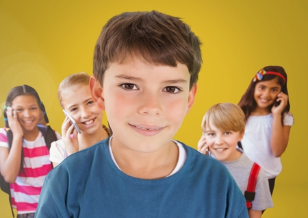 phoning: Digital composite of Kids in room on phones with yellow background