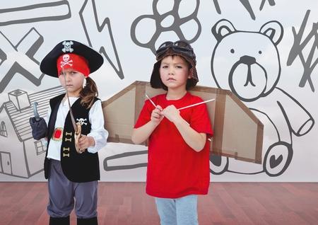 garabatos: Composición digital de la niña pirata y piloto de niño en la habitación con los niños de dibujo de gráficos