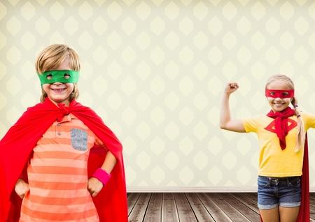 floorboards: Digital composite of Superhero kids in room Stock Photo