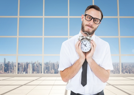 Digital composite of man holding clock in front of windows Stock Photo