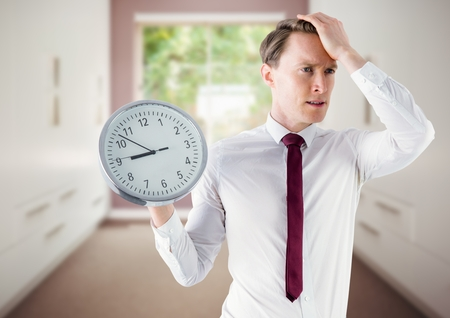 Digital composite of man holding clock in front of room window