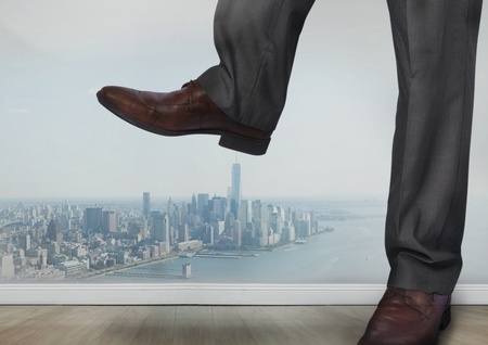 brogues: Digital composite of Businessmans feet and shoes stamping on city