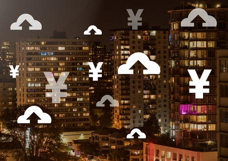 Digital composite of Yen and upload icons over city